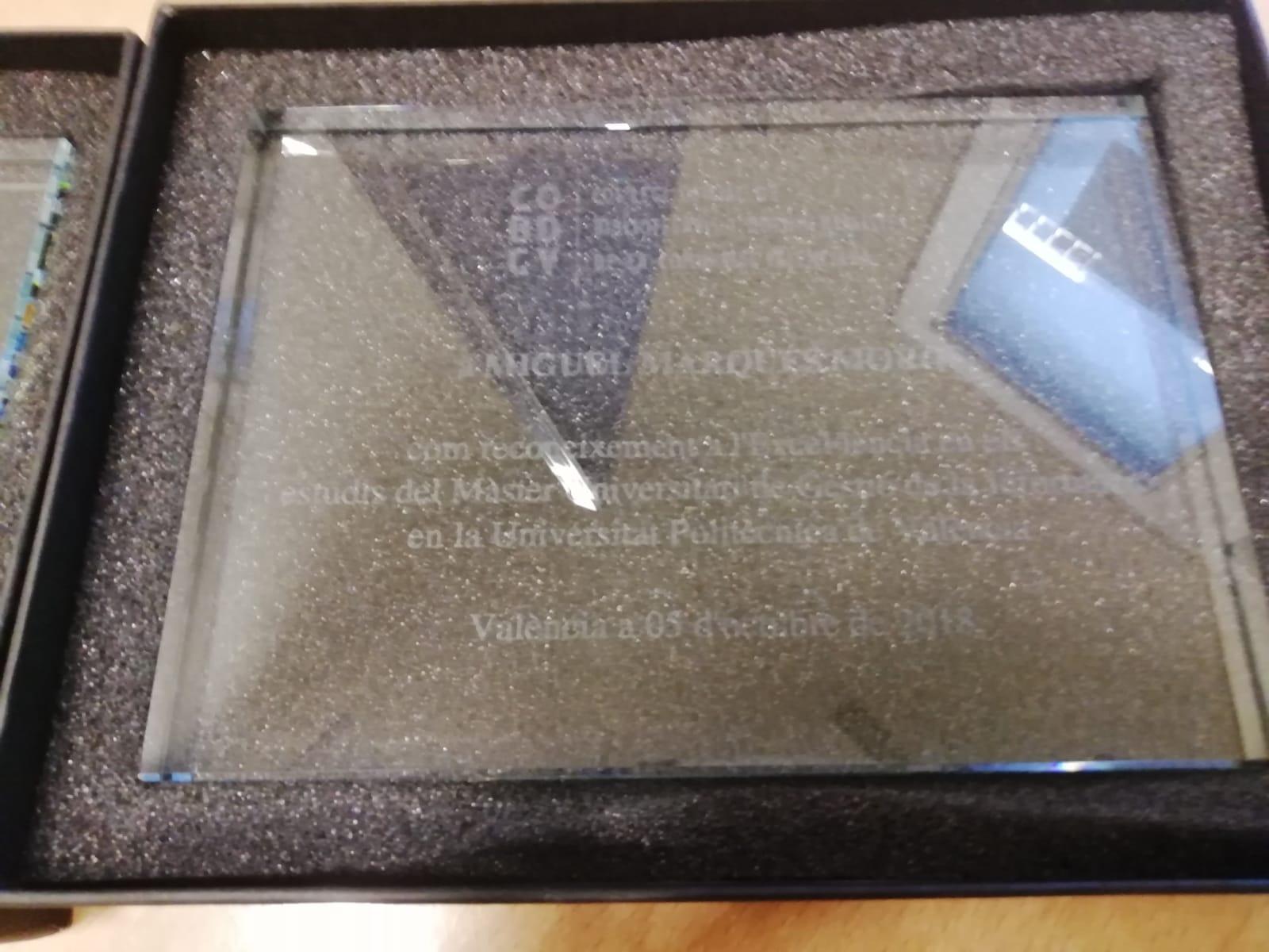 Col·legi de Bibliotecaris de la Comunitat Valenciana hace entrega de un cristal grabado en reconocimiento a sus Másters - Mario Torres  Artesania - Valencia